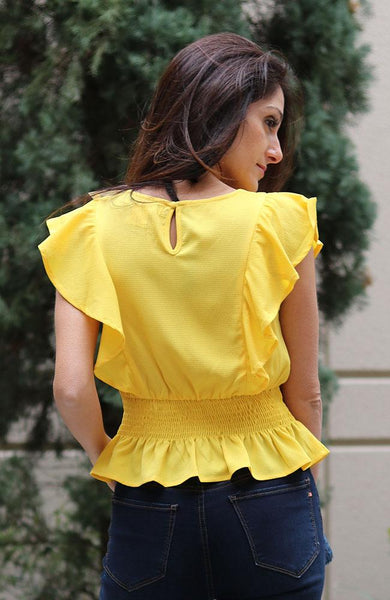 Yellow Short Sleeve Ruffle V-neck