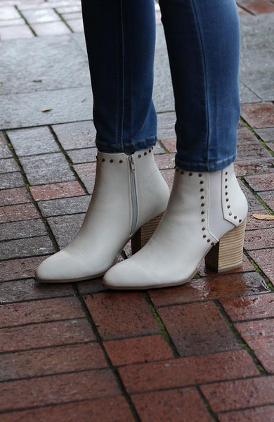 Ivory and Gold Studded Booties