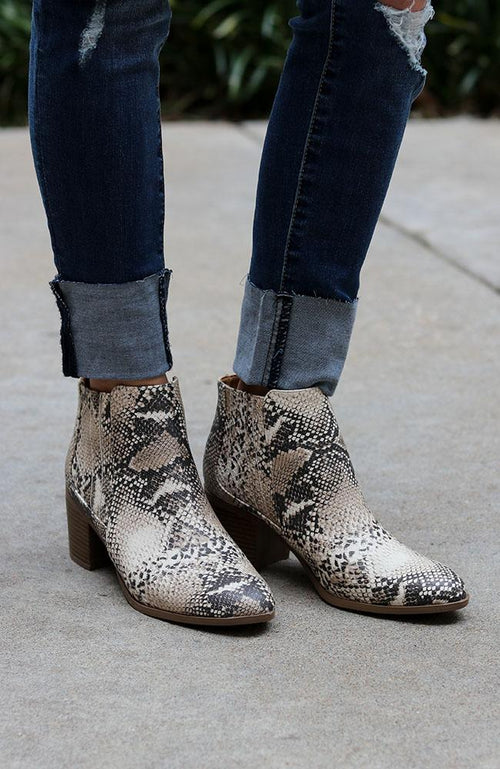 The Nova Beige and Brown Snake Print Bootie