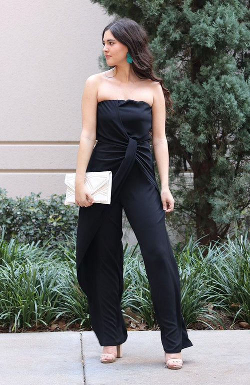 Black Strapless Front Twist Jumpsuit - THE WEARHOUSE
