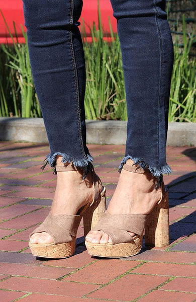 Taupe Suede Cross Strap Heels
