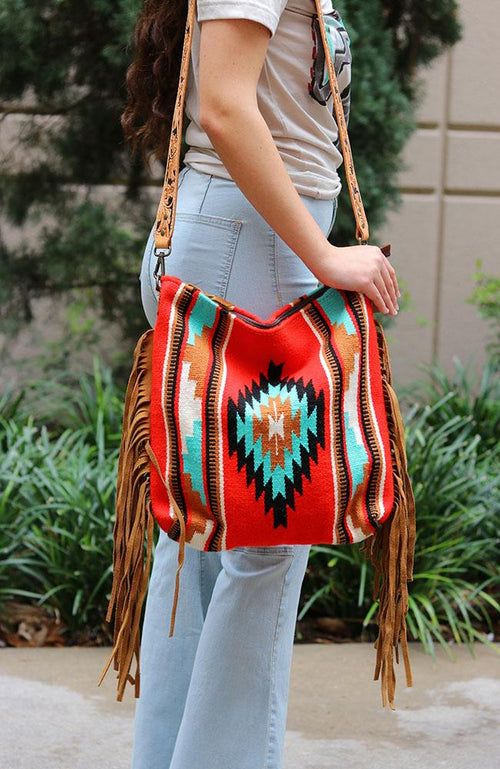Red Santa Fe Leather Tassel Bag - THE WEARHOUSE