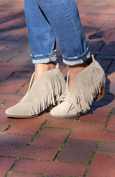 Monica Grey Fringe Booties
