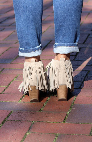 Monica Grey Fringe Booties - THE WEARHOUSE