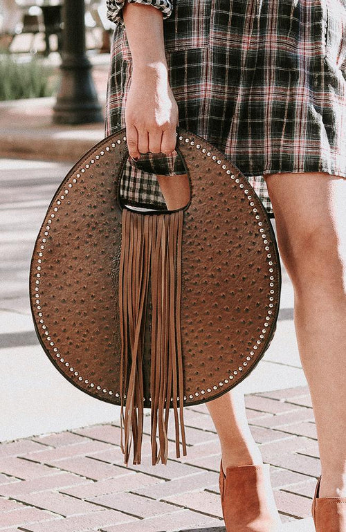 Cognac Faux Ostrich And Alligator Tassel Bag