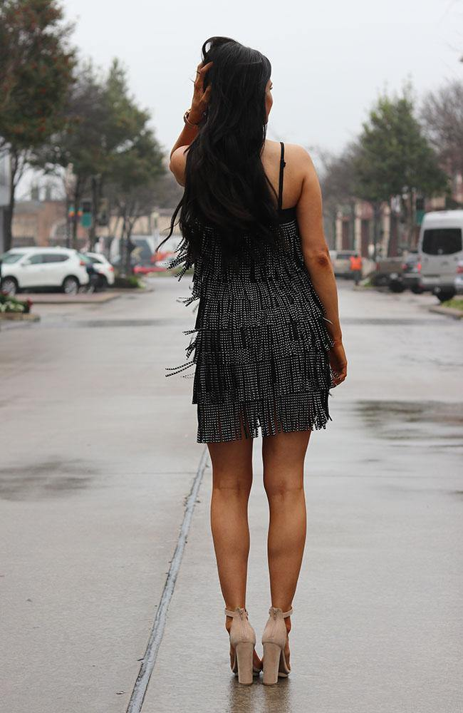 Black and Silver Fringe Dress