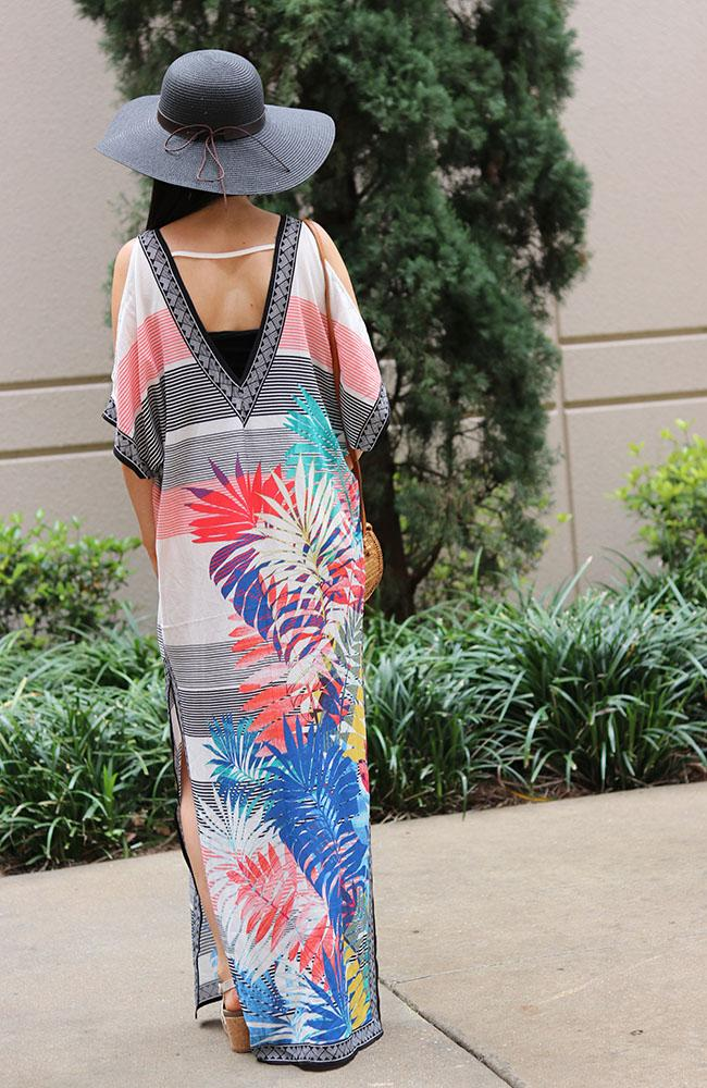Ivory and Leaf Print Kaftan Dress