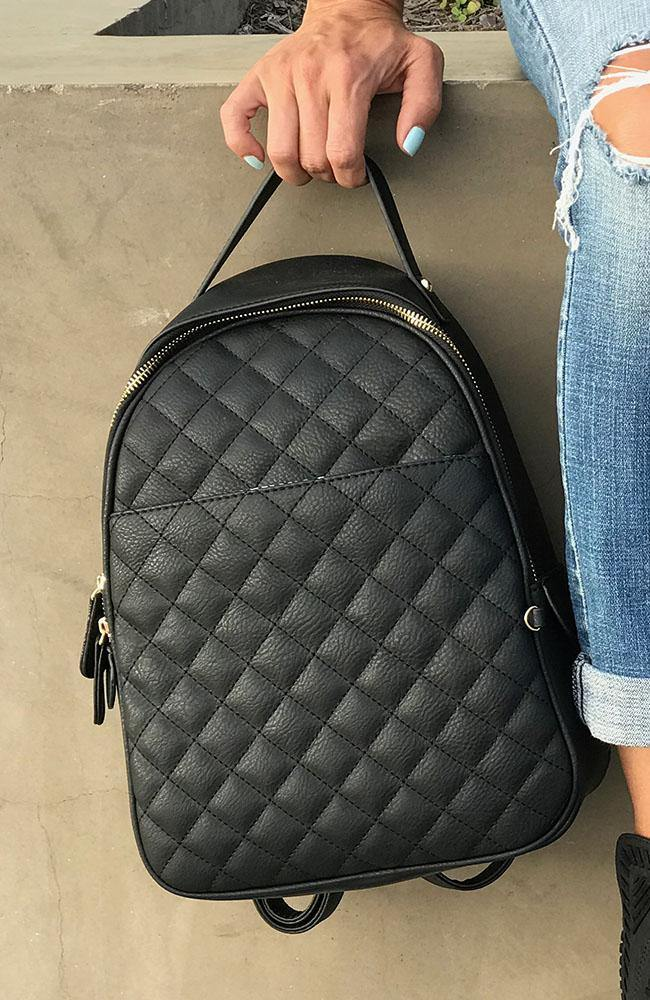 Black Faux Leather Backpack - THE WEARHOUSE