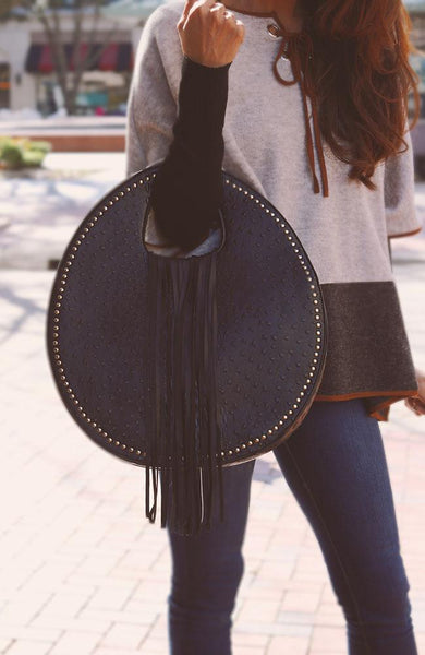Black Faux Ostrich and Alligator Tassel Bag