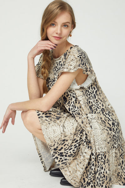 Snakeskin Print Babydoll Dress