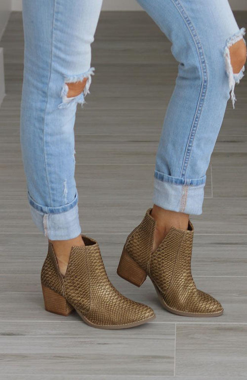 Gold Snakeskin Booties - THE WEARHOUSE