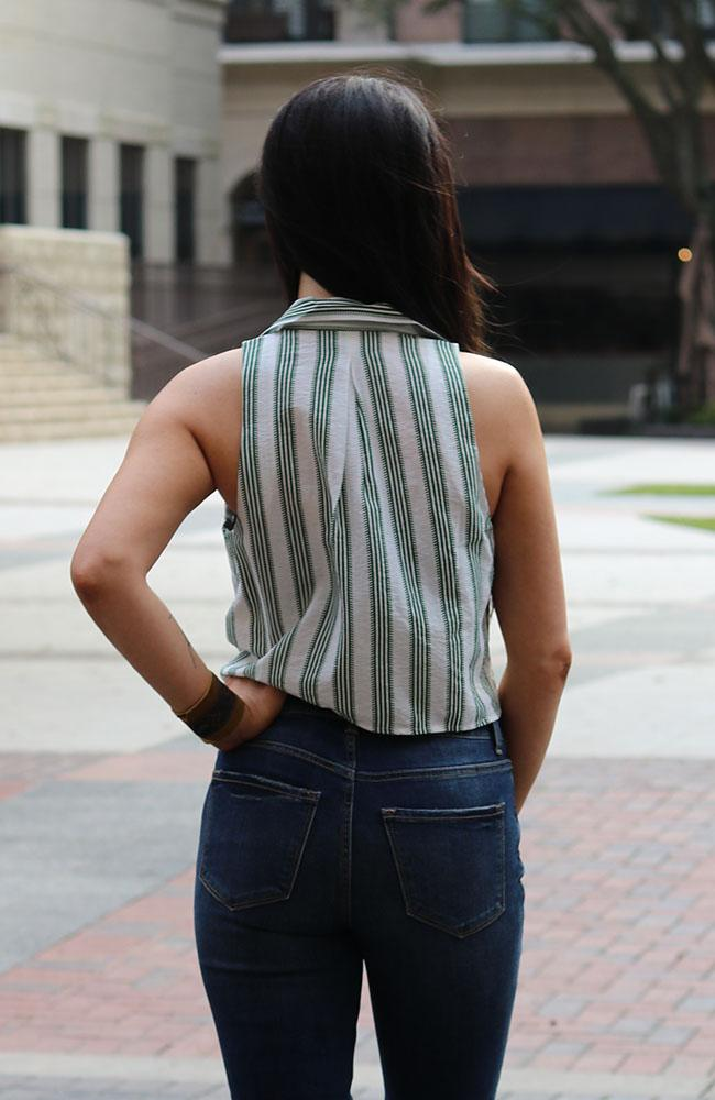 Collared Green Striped Top