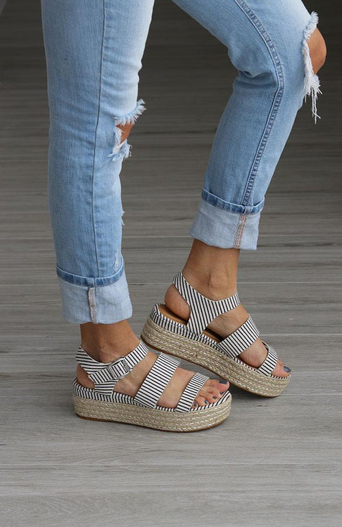 Navy Stripe Espadrille Wedge - THE WEARHOUSE