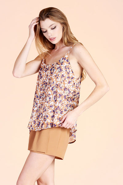 Light Brown Animal Print Spaghetti Strap Top - THE WEARHOUSE
