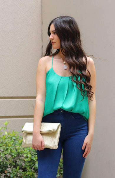 Green Satin Tuck Pleat Cami Top - THE WEARHOUSE