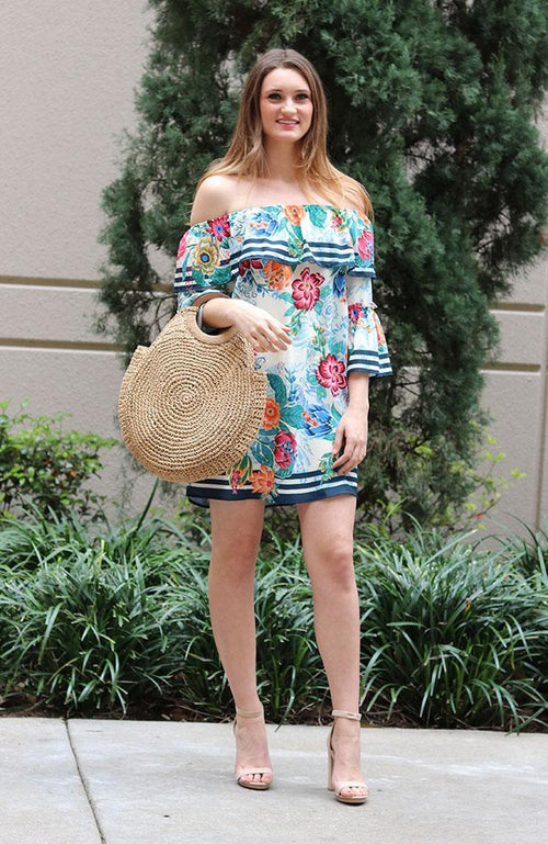 Ivory and Floral Off Shoulder Shift Dress