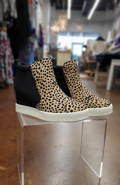 Alana Animal Print Wedge Suede Sneakers - THE WEARHOUSE
