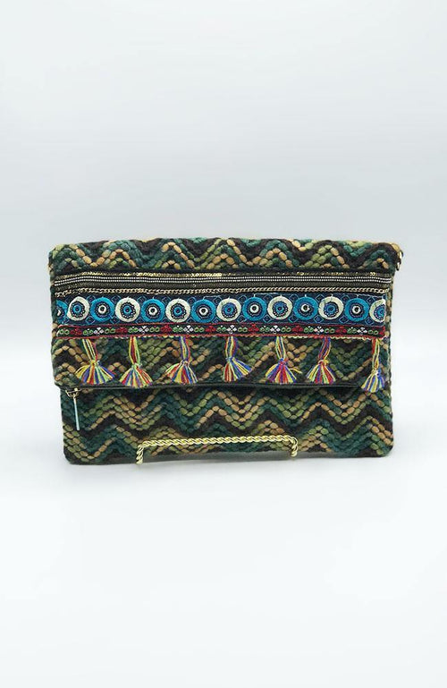 Brown and Green Multi-woven Clutch - THE WEARHOUSE