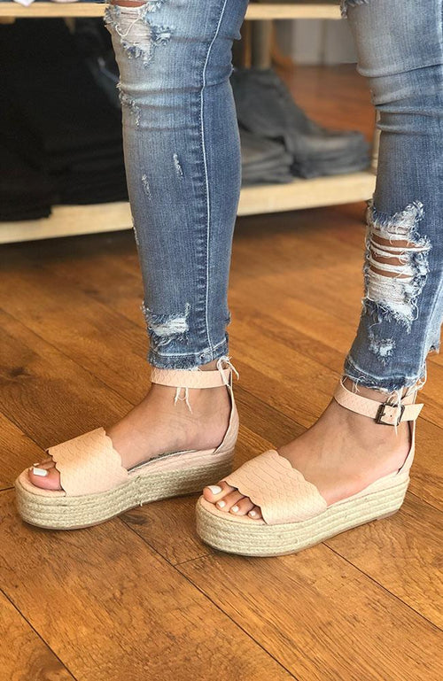 Blush Pink Espadrille Wedge Sandal - THE WEARHOUSE