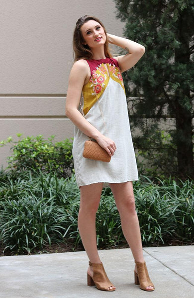 Cream Colored Embroidered Halter Dress