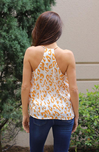 Gold Leopard Spaghetti Tank Top - THE WEARHOUSE