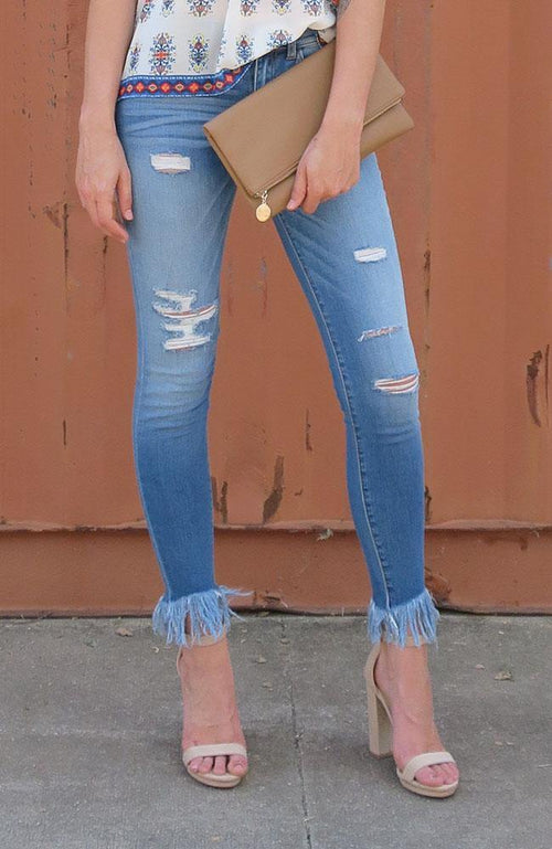Jane Distressed Jeans Frayed Bottom - THE WEARHOUSE