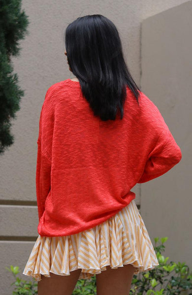 Orange Red Pullover Sweater