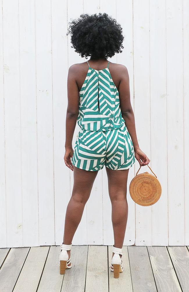 Green Modern Print Romper - THE WEARHOUSE