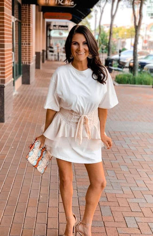 Ivory Two Piece Corset Dress