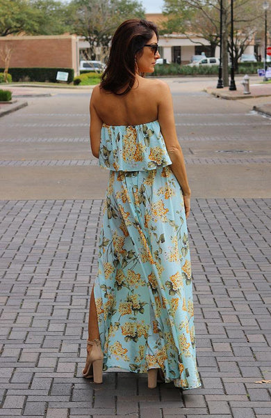 Mint Multi-Colored Strapless Maxi Dress
