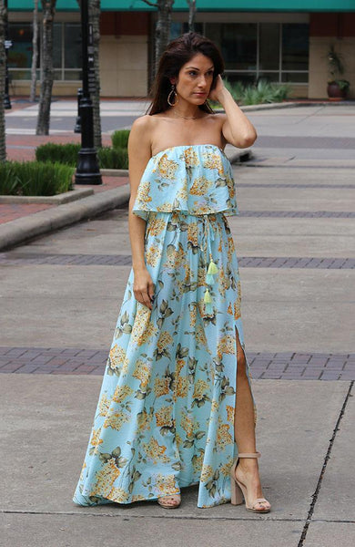 Mint Multi-Colored Strapless Maxi Dress - THE WEARHOUSE