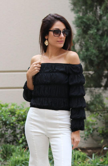 Black Sheer Sleeve V-neck Top