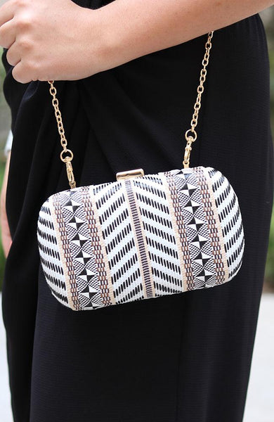 White Multi Design Clutch