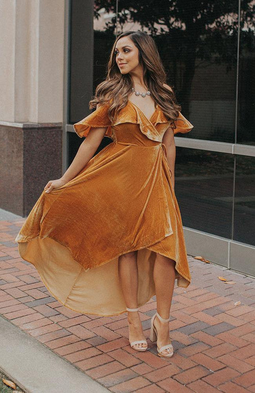 Mustard Colored Velvet Wrap Dress