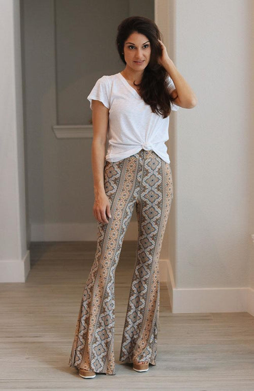 Black and Mustard Medallion Print Flare Pants - THE WEARHOUSE
