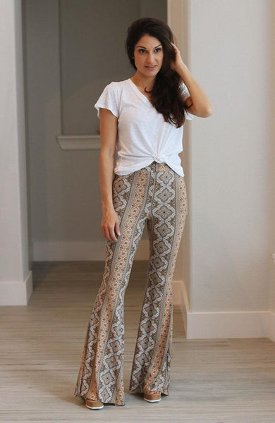 Black and Mustard Medallion Print Flare Pants