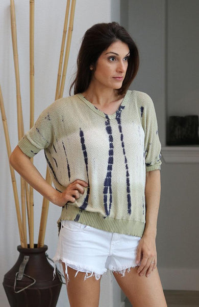 Olive Colored Tie-Dye Knit Top