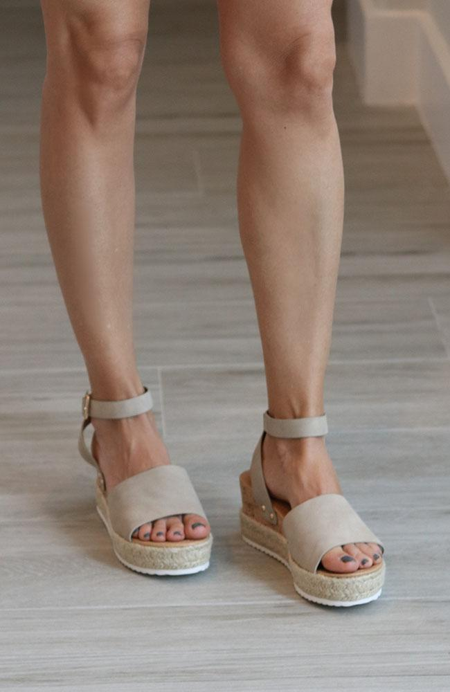 Tabitha Taupe Wedge Sandals