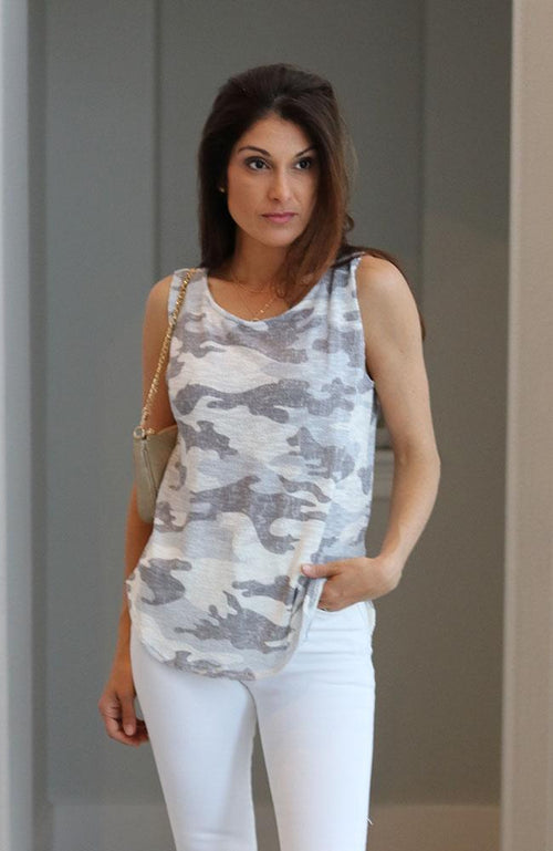 Off White Camo Print Muscle Tank