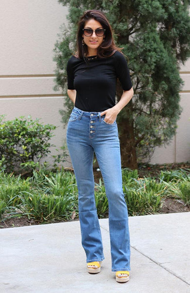 Heather High Rise Boot Cut Jeans