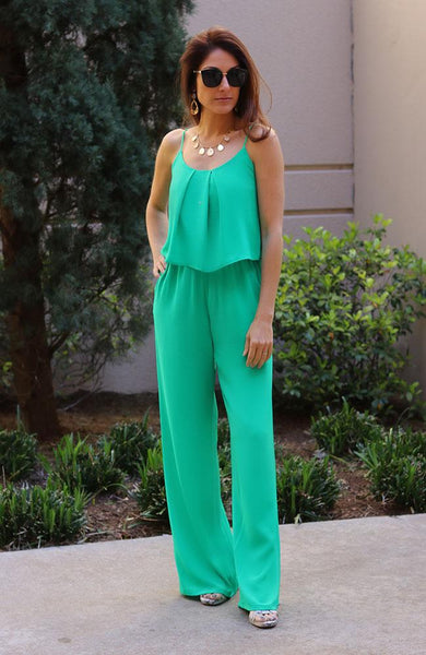 Emerald Tuck Detail Cami Jumpsuit