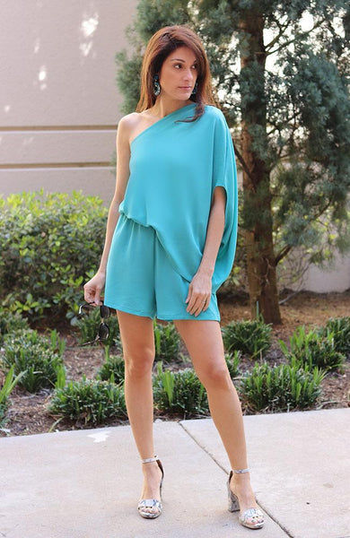 Mint One Shoulder Romper