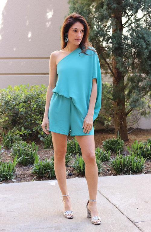 Mint One Shoulder Romper - THE WEARHOUSE