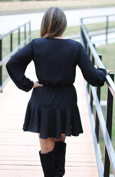 Black Modern Dress with Detailed Sleeves