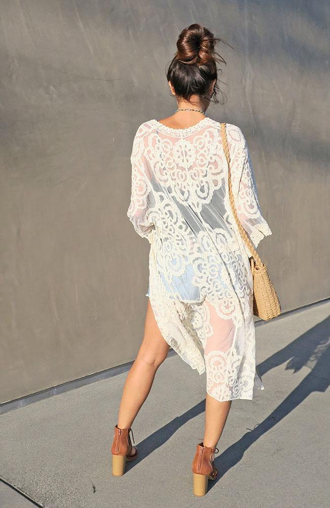 Long Ivory Lace Cardigan