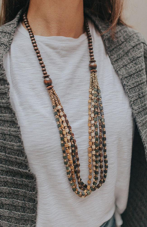 Wood Beaded Layered Necklace