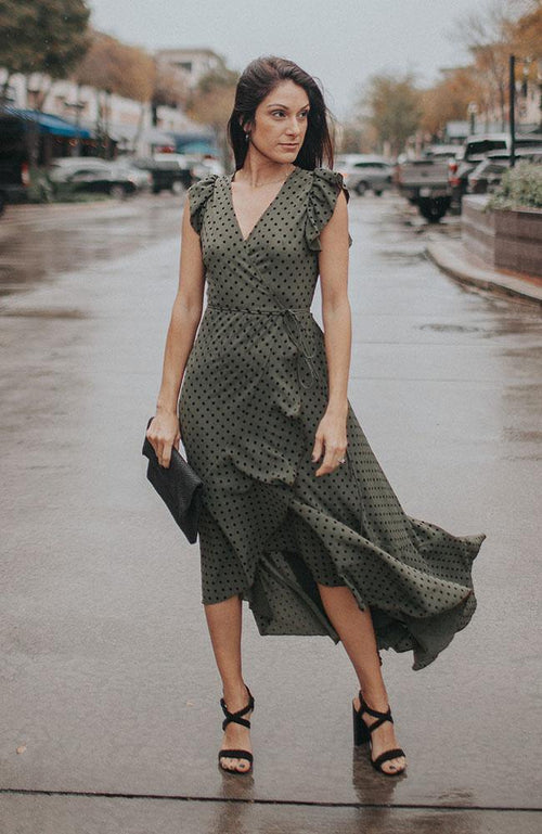 Olive Polka-dot Ruffle Sleeve Dress