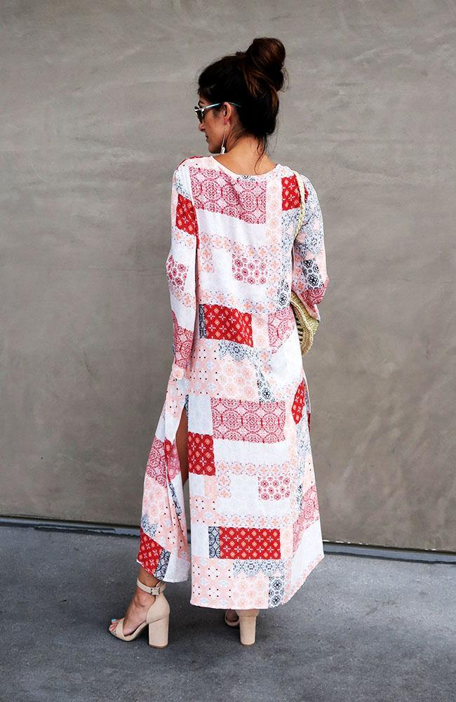 Red Multi Long Kimono with Sleeves