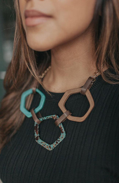 Turquoise and Brown Statement Necklace