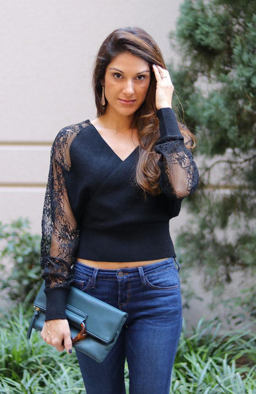 Black Floral Lace Sleeve Sweater